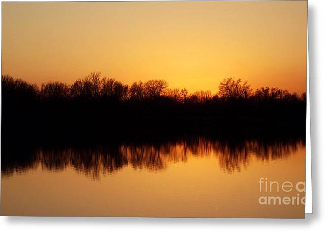 Golden Lake Reflections Greeting Card by R McLellan