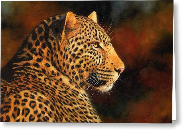 Golden Leopard Greeting Card by David Stribbling