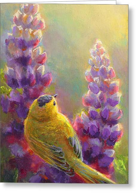 Golden Light 1 Wilsons Warbler And Lupine Greeting Card by Karen Whitworth