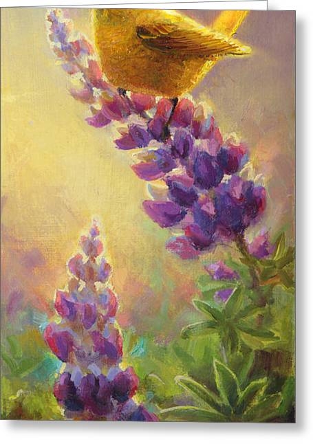 Golden Light 2 Wilsons Warbler And Lupine Greeting Card by Karen Whitworth