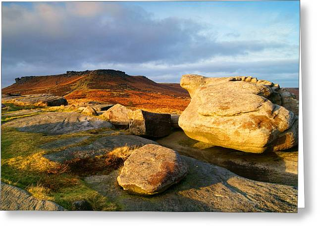 Golden Light Across Two Tors Greeting Card by Darren Galpin