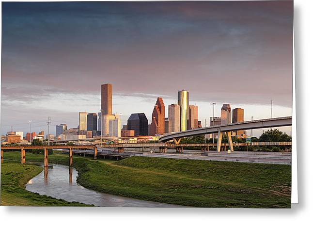 Golden Light On Downtown Houston Greeting Card by Silvio Ligutti