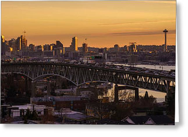 Golden Light On The City Seattle Greeting Card by Mike Reid