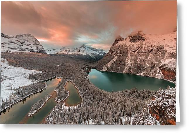 Golden Light Over Opabin Lake Greeting Card