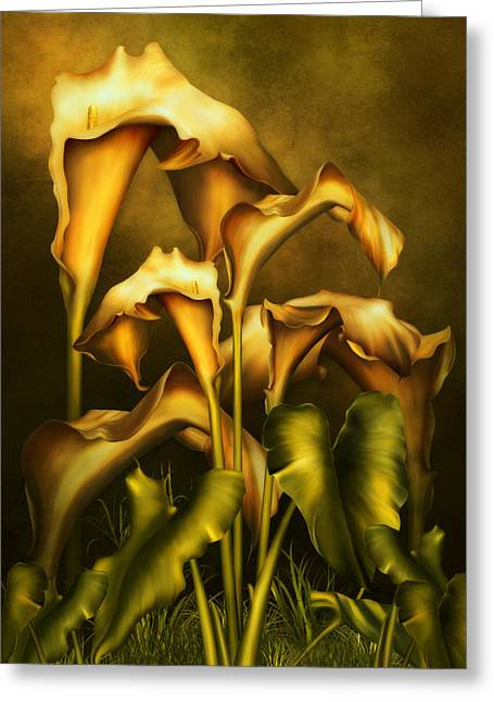 Golden Lilies By Night Greeting Card by Georgiana Romanovna
