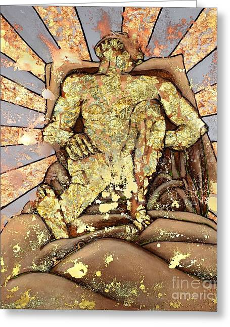 Greeting Card featuring the painting Golden Man On The Precipice by Cynthia Parsons