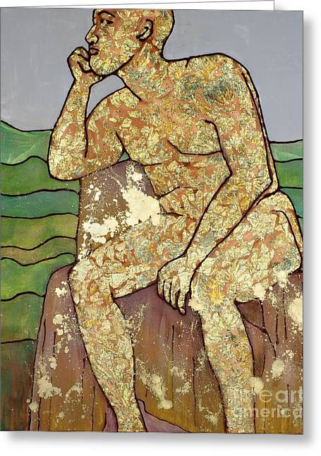 Greeting Card featuring the painting Golden Man Thinking by Cynthia Parsons