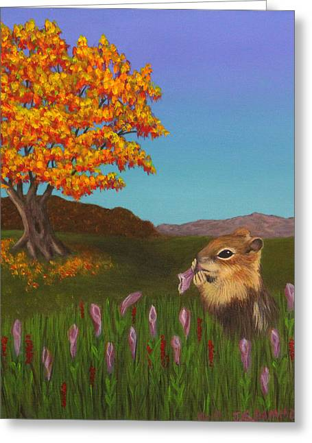 Greeting Card featuring the painting Golden Mantled Squirrel by Janet Greer Sammons