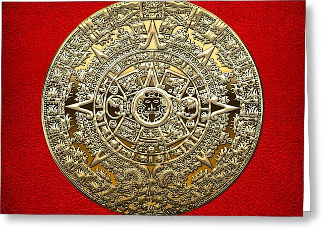 Golden Mayan-aztec Calendar On Red Greeting Card