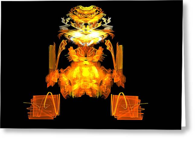 Greeting Card featuring the digital art Golden Monkey by R Thomas Brass