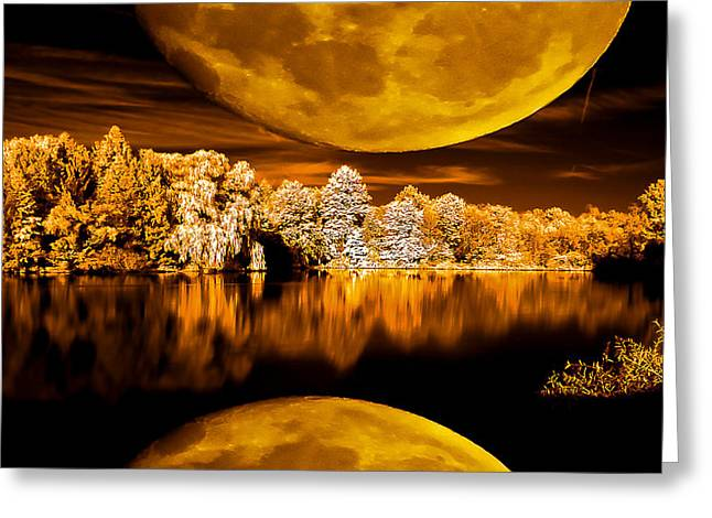 Greeting Card featuring the photograph Golden Moon Pond by David Stine