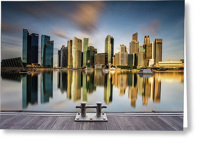 Golden Morning In Singapore Greeting Card by Zexsen Xie