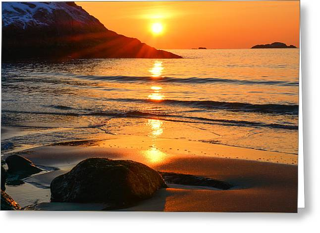 Golden Morning Singing Beach Greeting Card