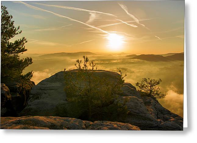 Golden Morning On The Lilienstein Greeting Card