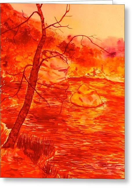 Golden Mountain Lake Morning  Greeting Card by Kendall Kessler