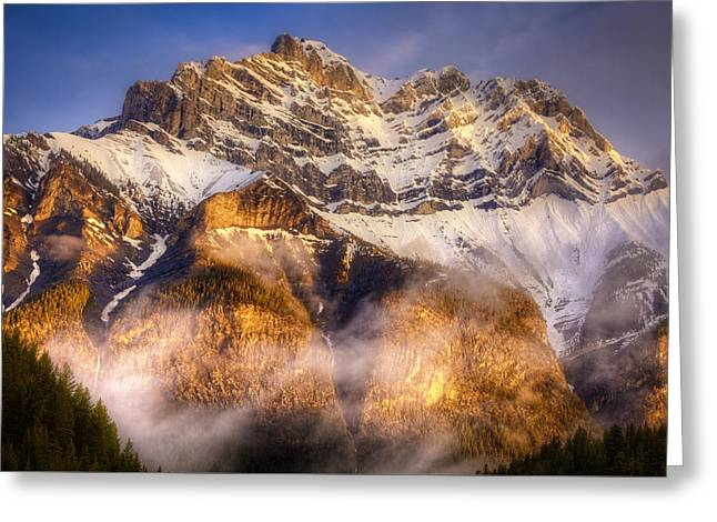 Golden Mountain Greeting Card by Stuart Deacon