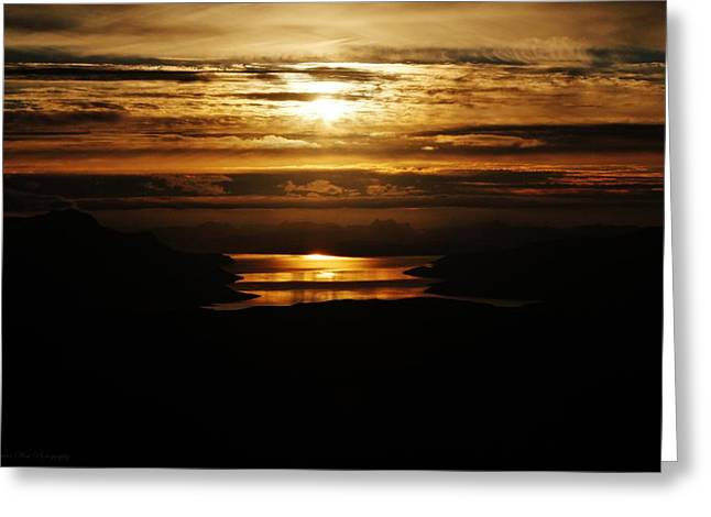 Golden Norse Fjordland Sunset Greeting Card by David Broome