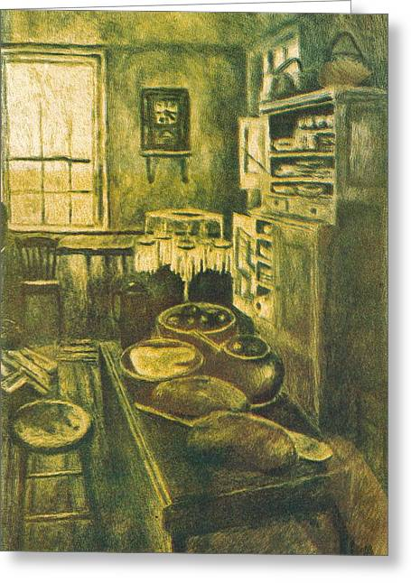 Golden Old Fashioned Kitchen Greeting Card by Kendall Kessler