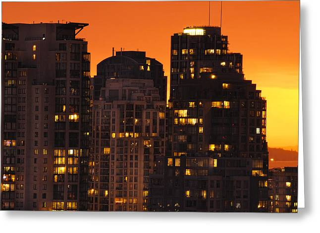 Greeting Card featuring the photograph Golden Orange Cityscape Dccc by Amyn Nasser