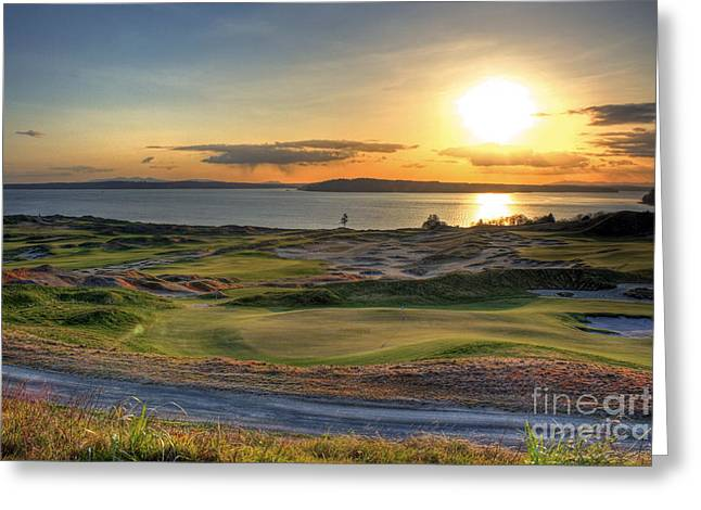 Greeting Card featuring the photograph Golden Orb - Chambers Bay Golf Course by Chris Anderson
