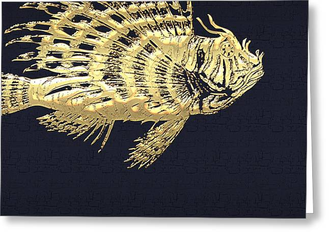 Golden Parrot Fish On Charcoal Black Greeting Card by Serge Averbukh
