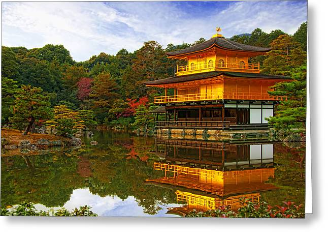 Golden Pavilion Greeting Card by Midori Chan