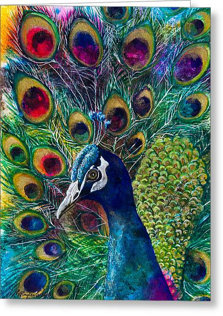 Golden Peacock II Greeting Card by Patricia Allingham Carlson