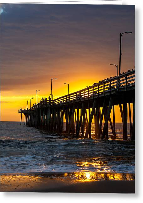 Greeting Card featuring the photograph Golden Pier by Dawn Romine