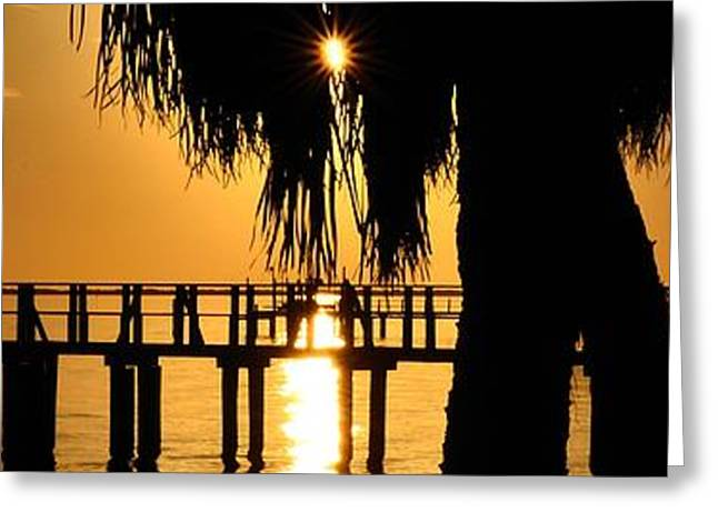 Greeting Card featuring the photograph Golden Pier Panorama by Richard Zentner
