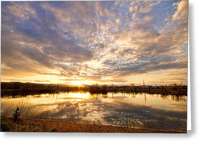 Golden Ponds Scenic Sunset Reflections Greeting Card by James BO  Insogna
