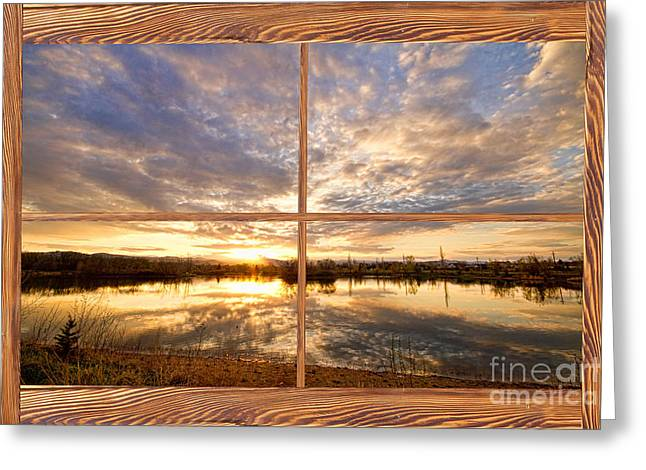 Golden Ponds Sunset Reflections  Barn Wood Picture Window View Greeting Card by James BO  Insogna