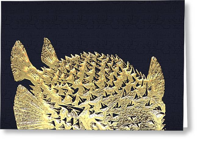Golden Puffer Fish On Charcoal Black Greeting Card by Serge Averbukh