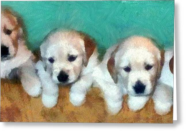 Golden Puppies Greeting Card