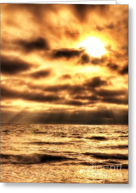 Golden Rays On The Ocean Greeting Card