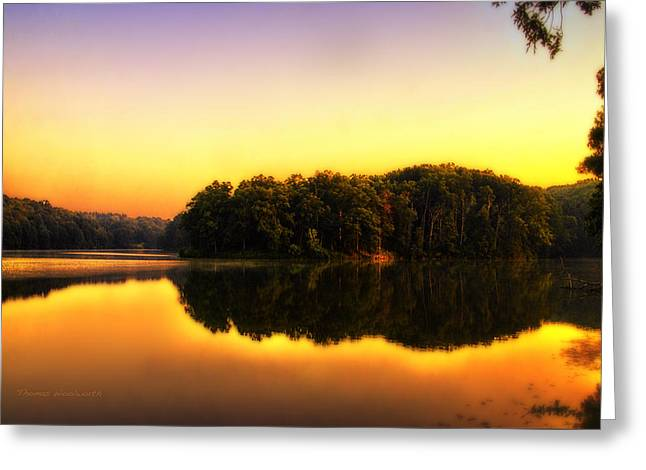 Golden Reflections On A Lake Greeting Card