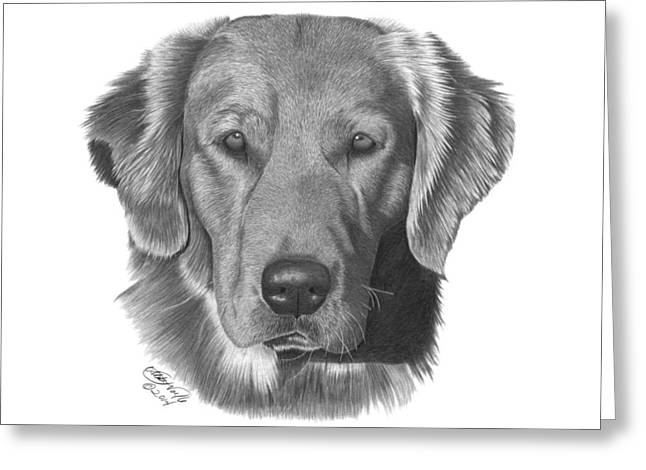 Greeting Card featuring the drawing Golden Retriever - 026 by Abbey Noelle