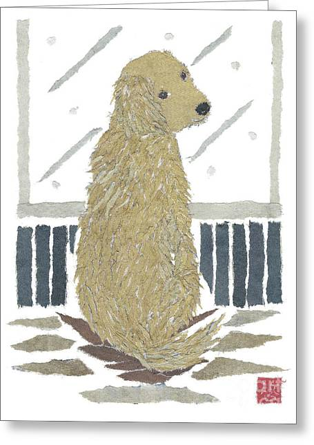 Golden Retriever Art Hand-torn Newspaper Collage Art Greeting Card by Keiko Suzuki Bless Hue