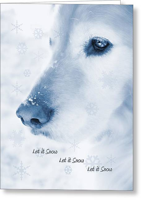 Golden Retriever Dog Let It Snow Holiday Card Greeting Card by Jennie Marie Schell
