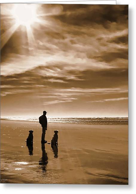 Golden Retriever Dogs End Of The Day Sepia Greeting Card by Jennie Marie Schell