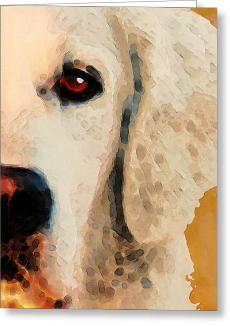 Golden Retriever Half Face By Sharon Cummings Greeting Card by Sharon Cummings