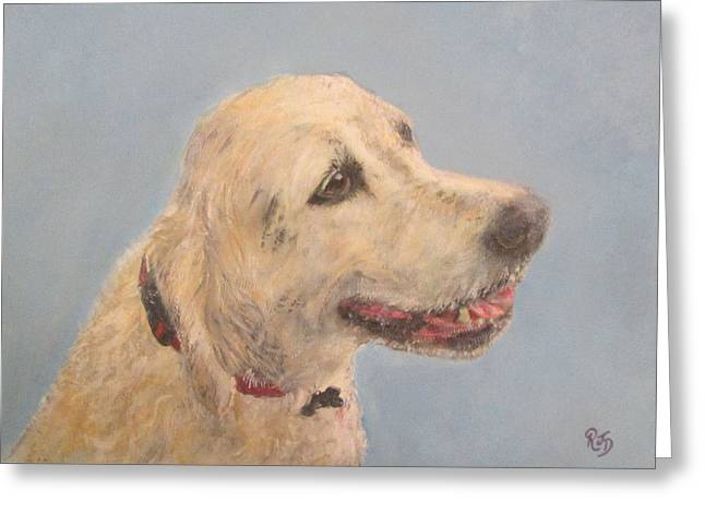Pet Portrait Of Golden Retriever Maisie  Greeting Card