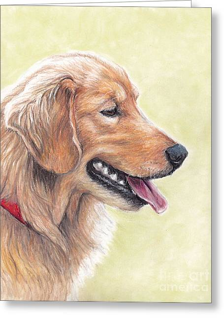 Golden Retriever Profile Greeting Card by Charlotte Yealey