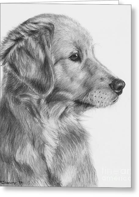 Golden Retriever Puppy In Charcoal One Greeting Card by Kate Sumners