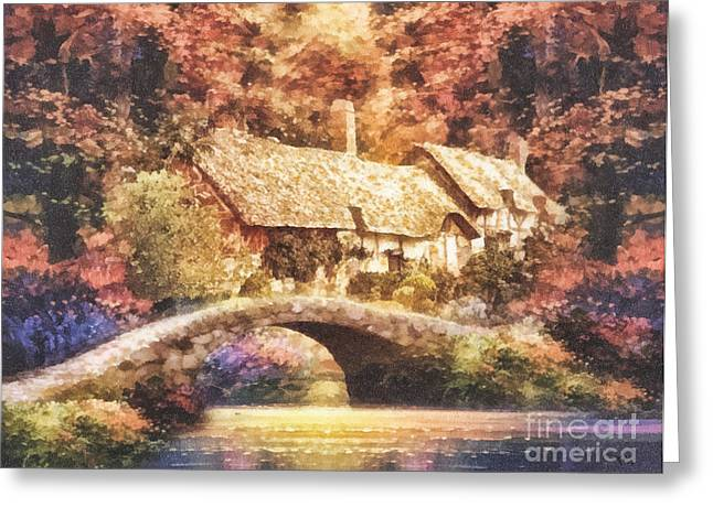 Golden Ripple Greeting Card by Mo T