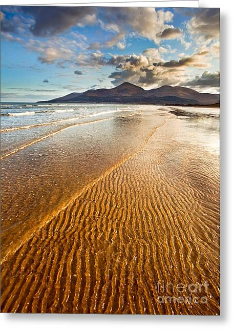Golden Ripples Greeting Card by Derek Smyth