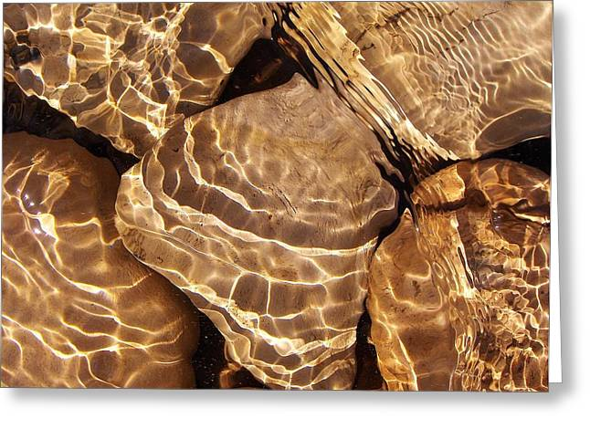 Golden Ripples Greeting Card by Kathi Mirto