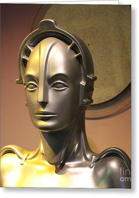 Greeting Card featuring the photograph Golden Robot Lady Closeup by Cynthia Snyder