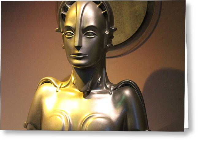 Greeting Card featuring the photograph Golden Robot Lady by Cynthia Snyder