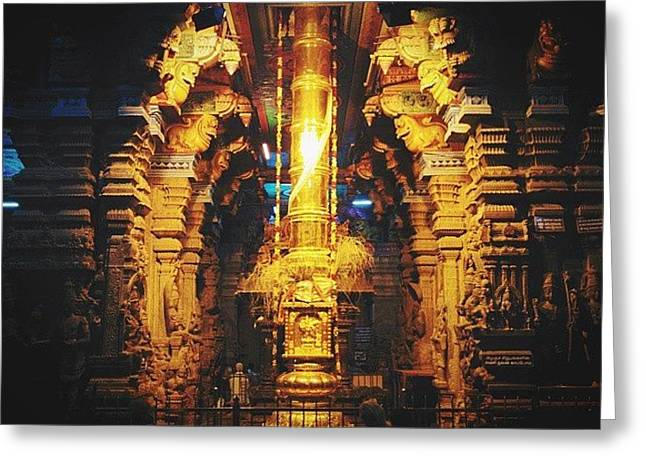 Golden Rod In Meenakshi Temple Greeting Card