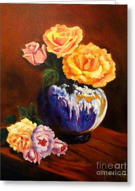 Greeting Card featuring the painting Golden Roses by Jenny Lee